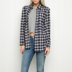 Brandy Melville white and navy flannel shirt